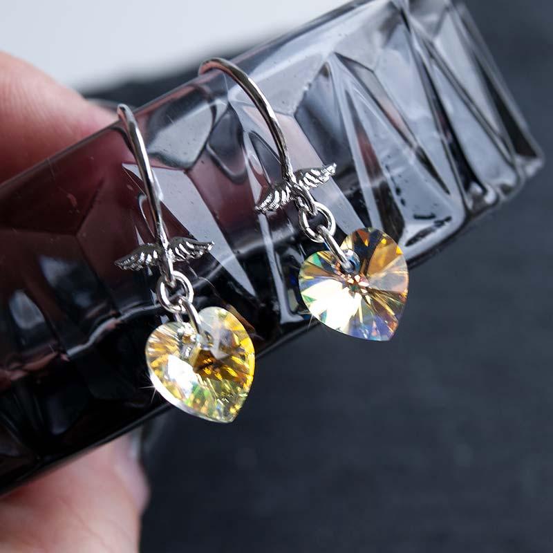Hjerte med Vinger øreringe sølv - Moni Sattler