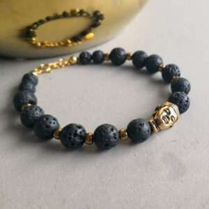 Buddha & Lava halvædelsten armbånd - Moni Sattler