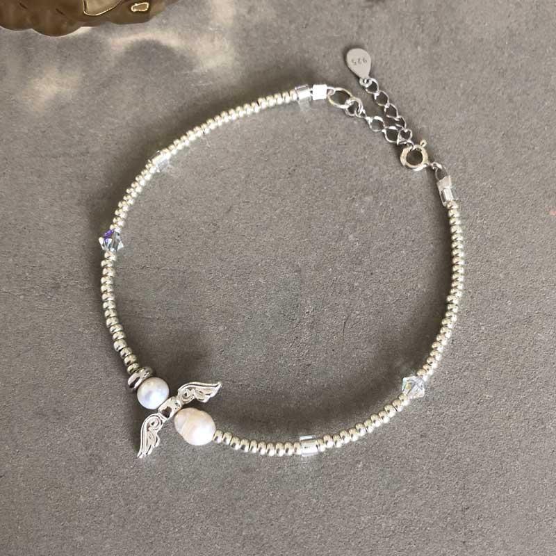 Bohemian Skytsengel armbånd sølv - Moni Sattler