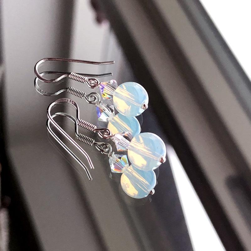 Månesten øreringe sølv- Moni Sattler